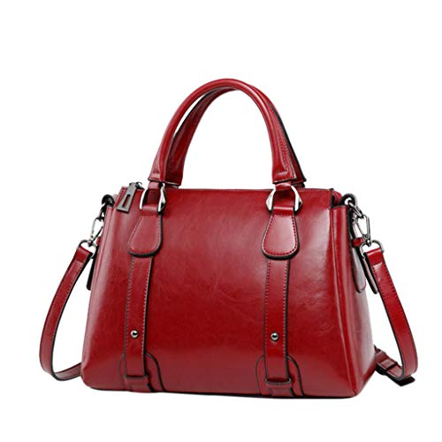 LILIHOT Fashion Women's Solid Color Zipper Schultertasche Messenger Bag Handytasche Damen Henkeltasche Multifunktionale Umhängetasche Designer PU Leder Elegante Schultertasche für Arbeit Freizeit