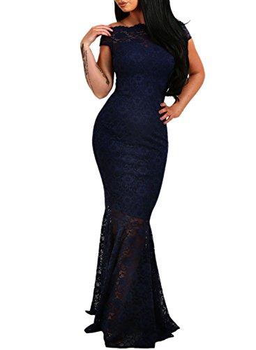 Azbro Women's off Shoulder Lace Fishtail Maxi Dress Navy