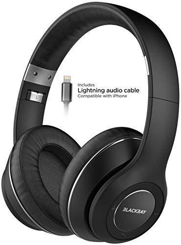 Thore Auriculares Bluetooth para iPhone, conector Lightning (certificado Apple MFi) aislamiento de ruido inalámbrico y micrófono (espuma de memoria cómoda con batería extendida) V550 Blackbay - Negro
