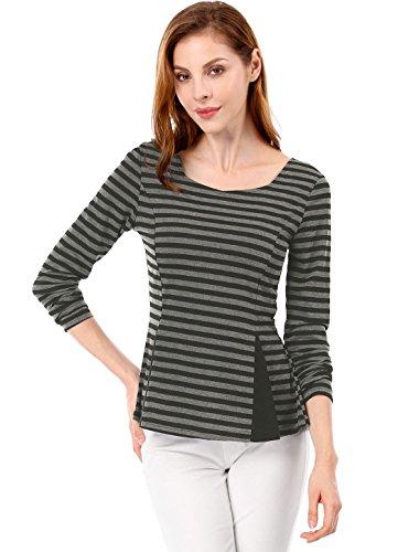 Allegra K Damen Langarm U Neck Panel Coclorblock Streifen Peplum Top Bluse Schwarz Grau XL (EU 48) (U-boot-ausschnitt K Allegra)