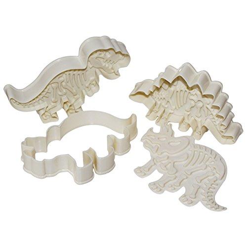 Kurtzy 6 pezzi formine per biscotti dinosauri - acrilico stampi biscotti - formine biscotti - pasticceria formine - tagliabiscotti dinosauro - 3 motivi stampini perfetti per bambini