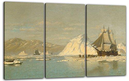 Bradford Wohnzimmer (Printed Paintings Leinwand 3-teilig(120x80cm): William Bradford - vor Grönland - Walfangschiff au)