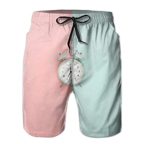 Preisvergleich Produktbild jiger Mens Swim Trunks Summer Cool Quick Dry Board Shorts Bathing Suit, Gray Double-Bell Clock, Beach Shorts Swim Trunks