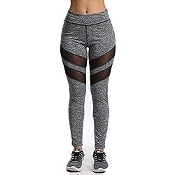 FITTOO Mallas Pantalones Deportivos Mujer Yoga Leggings de Alta Cintura Elásticos y Transpirables para Running Fitnes32G #2 Gris Medium