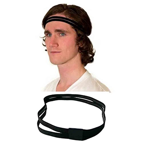 Sports Headband No Slip Grip Hairband Elastic Pullover Double-straps Silicone Lined Sweatband, Perfect for Running, Fitness, Yoga, Hockey, Soccer, Basketball, Gym, Volleyball (Black)