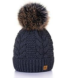 MFAZ Morefaz Ltd Winter Cappello Cristallo Grand Pom Pom Invernale di Lana  Berretto delle Signore delle Donne… c58462412b29