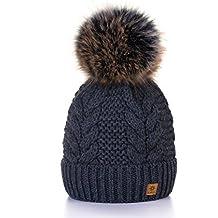 MFAZ Morefaz Ltd Winter Cappello Cristallo Grand Pom Pom Invernale di Lana  Berretto delle Signore delle cc082874f5ce