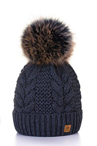 Morefaz - Gorro de lana para mujer, decorado con pequeños cristales y un gran pompón en la parte superior, ideal para el invierno, para la práctica de esquí y snowboard Regular Dark Grey