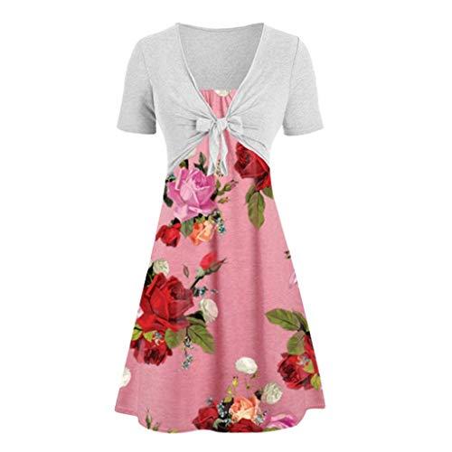 MERICAL Summer Dress for Women Frauen beiläufige Feste Bogen Knoten Schal Mantel Strap Flower Print Kleid Zwei Stück Anzüge(XXX-Large,Rosa) -