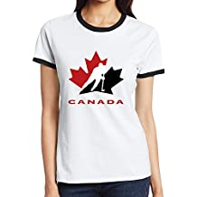 Custom Femme's Funny Two-toned Shirt Hockey Canada noir