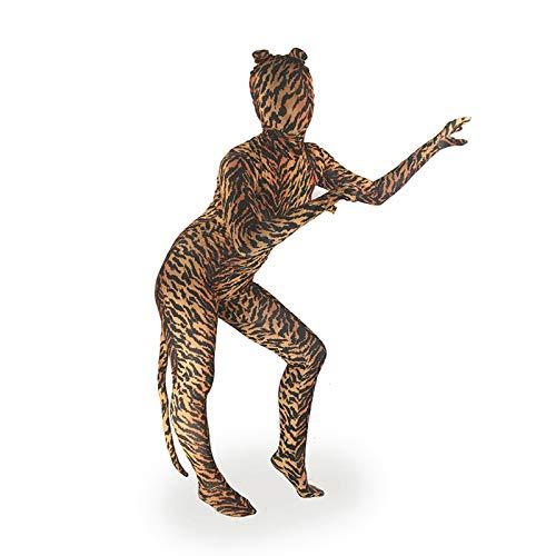 Manbozix Kinder Erwachsene Halloween Tiere Motiv Kostüm mit Maske für Fasching Karneval Cosplay Rollspielen, Tiger 7