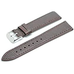 Blenheim London® 20mm Brown Hand Made Lizard Leather and Stainless Steel Pin Buckle Watch Strap