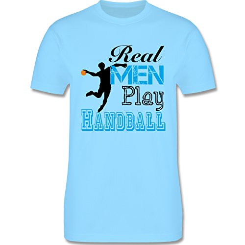 Handball - Real Men Play Handball - Herren Premium T-Shirt Hellblau