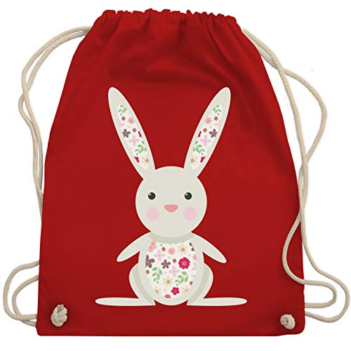Tür-blumen-fall (Tiermotive Kind - Süßer Hase - Frühlingstiere mit Blumen - Unisize - Rot - WM110 - Turnbeutel & Gym Bag)