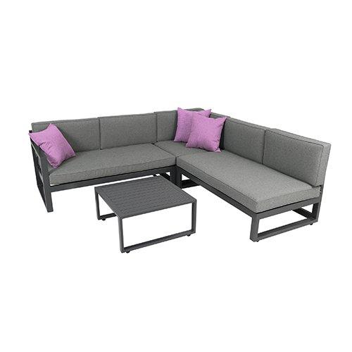Aluminium Outdoor-möbel (greemotion Gartenmöbel-Set Alu Costa Rica - Gartenlounge aus Aluminium mit Auflagen in Grau & 3 Deko-Kissen - Loungeset inkl. 2 x 2-Sitzer, Ecksessel mit Liege-Funktion & Tisch für Outdoor & Indoor)