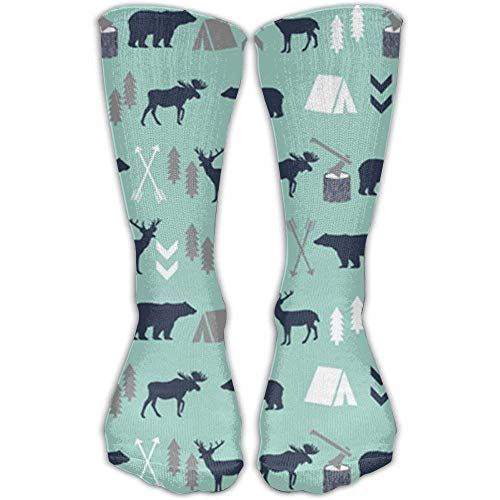 Kotdeqay Mint Grey Navy Blue Bear Moose Fashion Warm Winter Socks Cotton Crew Socks One Size for Women and Men(30cm)