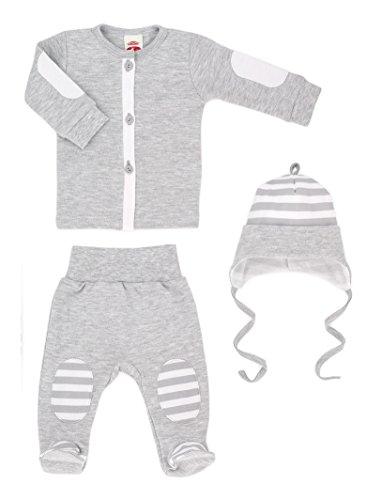 MAKOMA Baby Jungen Erstausstattung Set aus Wickelshirt Stramplerhose und Babymütze 3tlg. -My Bear- (56-68), Blau, 68 (Jungen-brown-leder-kleid-schuhe)
