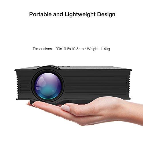 APEMAN Mini Tragbarer LCD Beamer LED Projektor Heimkino Multimedia Video mit 1200 Lumen Unterstützt Videospiele 1080P HD Video HDMI VGA AV USB SD für PC Laptop TV Box und Xbox