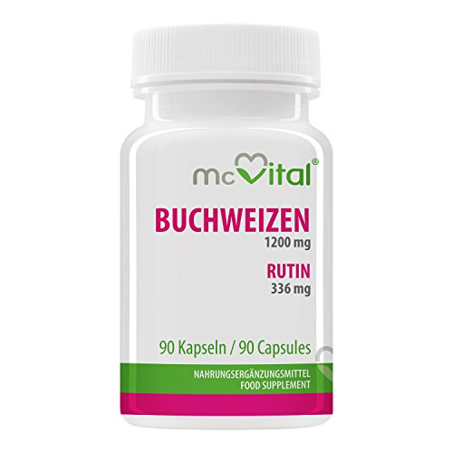 Buchweizen 1200 mg - Rutin 336 mg - Gefäßaktiv - gegen Antriebslosigkeit - 90 Kapseln Test