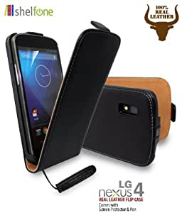 BLACK Premium Stylish Protective 100% REAL GENUINE COW LEATHER FLIP CASE POUCH COVER FOR LG GOOGLE NEXUS 4 E960 + Includes STYLUS PEN + SCREEN PROTECTOR