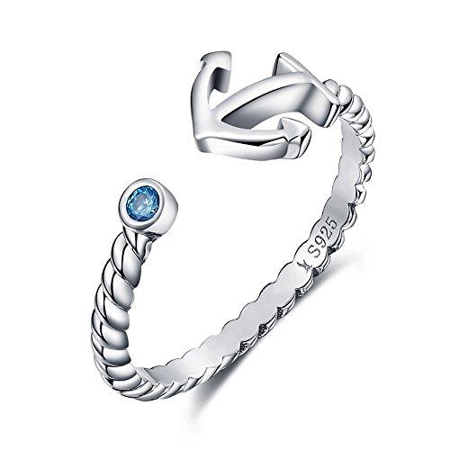 ng Silber Seil und Anchor Ring mit blauem Zirkonia, Eröffnung Fingerring (Ringe Für Jungen)