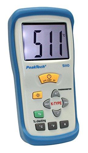 Preisvergleich Produktbild PeakTech 1-Kanal Digital-Thermometer 3 1/2-stellig -50°C ... +1300°C mit Typ-K Temperaturfühler , 1 Stück, , P 5110