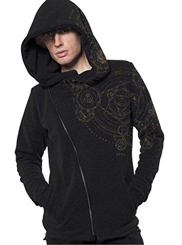 Herren Hoodie mit Magic Circle Geometrischem Urban Style Aufdruck - handgefertigt durch Siebdruck auf 100% Baumwolle - Street Habit Schwarz
