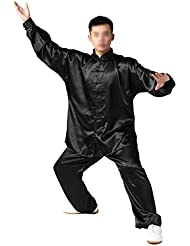 Andux chinois traditionnels Tai Chi uniformes Kung Fu Vêtements Unisexe SS-TJF01 Noir