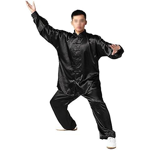 Andux tradicional Tai Chi Uniformes Kung Fu Ropa Unisex SS-TJF01 Negro (M)