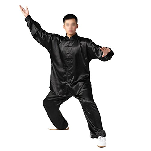 Andux Kampfsport Tai Chi anzug Kung Fu Uniformen Unisex SS-TJF01 (Black, XXXL) Kung Fu Uniform Black