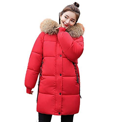 URSING Wintermantel Damen Warmer Mantel Faux Pelz Kapuze dicke warme dünne Jacke langen Mantel mit Fellkapuze Overcoat Steppmantel...