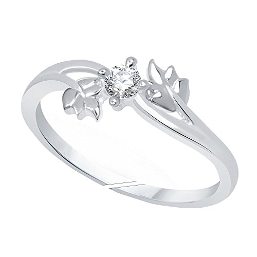Jewellery For Women Cz Stone Silver Platinum Plated Leaf Adjustable Finger Ring for Girls & Women's (Free Size)