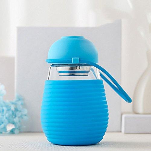 SINCERE@ Les étudiants verre transparent couvercle de tasse d'eau poignée créatives deux tasses facilement tasse tasse portable de fleurs femelles ( couleur : Bleu , taille : 400ml )