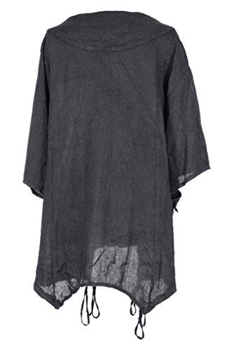 Mesdames Womens italien Lagenlook excentrique superposition manches courtes artistique collier Plain Tunique robe poches précipita une taille Plus UK 12-18 Dark Gris