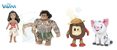 Oceania(Moana) - Pack 4 peluches Vaiana 26cm (ragazza) + Maui 26cm (ragazzo) + Pua 24cm (suino, portafortuna di Vaiana) + Kakamora 26cm (noce di cocco pirata) - Qualità super soft - pack4modT3