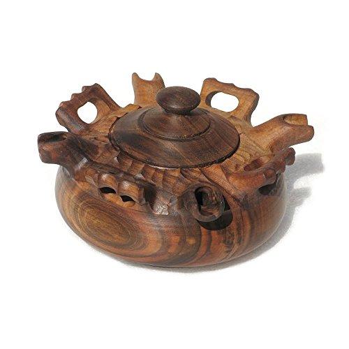 Artigianato Valdostano - Recipiente para compartir café, de madera de nogal, botijo de 4 bocas, taza de la amistad