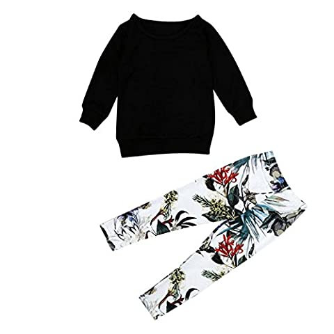 Fulltime(TM) Baby Kid Girls Outfit Clothing Sets Warm Long Sleeve T-shirt Tops + Print Long Pants (3-4 years)