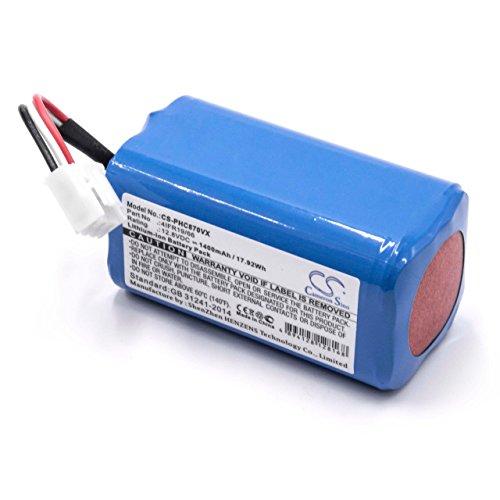 vhbw Li-Ion batería 1400mAh (12.8V) para Robot limpiasuelos Robot autónomo de Limpieza Philips FC8603, FC8700, FC8705, FC8710
