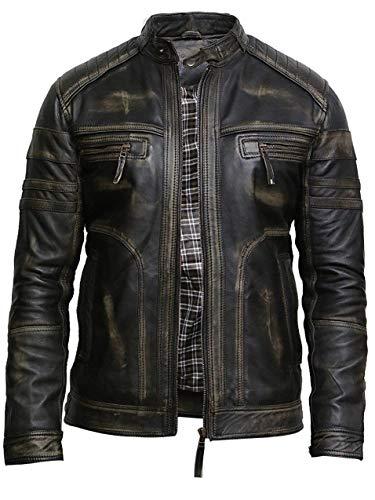 Brandslock Herren Echtes Leder Biker Jacke Vintage (S, Schwarz)
