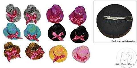Fiesta Palace - clip ou broche mini chapeau canotier à paillettes mix