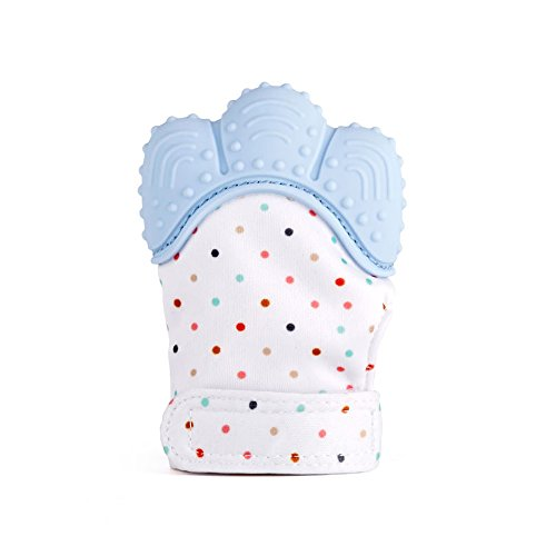 SOYAR Colorful Baby Teething Mittens,Soothing Pain Relief- Age 3-12 Months Protects Babys Hands from Salvia & Chewing – Secure Adjustable Strap.-Pastel Blue(1PC) 41NczEU9VmL