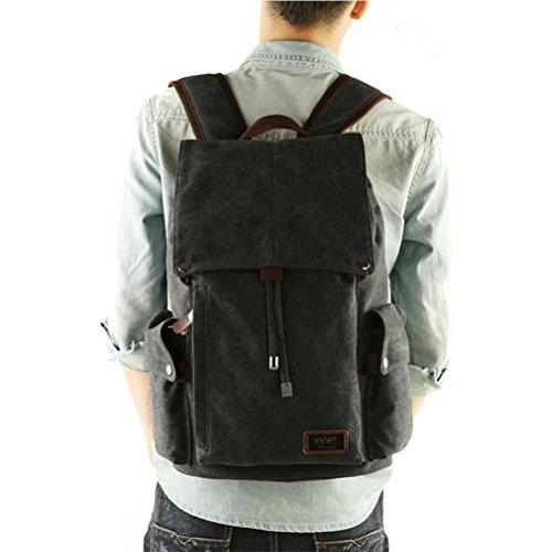 Zaino degli uomini, sacchetto di spalla casuale, l'uomo borsa del computer di viaggio, retro tela, ad alta capacità, riducendo l'onere di progettazione, 36L , blue black