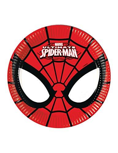 -Teller Papier Ultimate Spider Man Power, Ø20cm, 8Stück, rot/schwarz ()