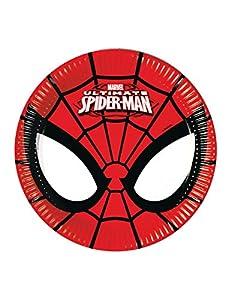 Procos 86669-Platos Papel Ultimate Spider Man power, Ø20cm, 8piezas, rojo/negro