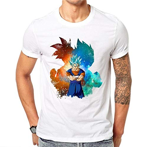 100% Cotton Men 3D T Shirt Dragon Ball Z Goku Super Saiyan God Blue Hair Vegeta Print Cartoon Anime Summer Top tee 4XL HB03MD