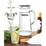 Femora Borosilicate Glass Jug With SS Metallic Lid -1500 ML, White