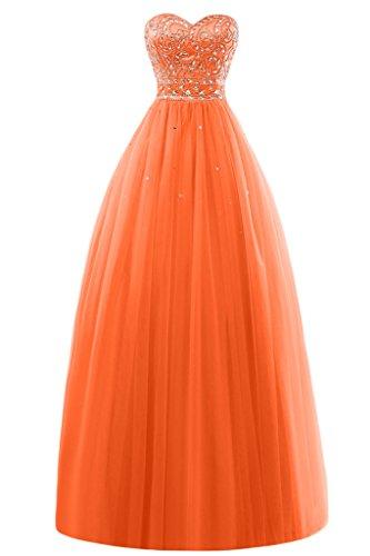 Gorgeous Bride Modern Herz-Ausschnitt Lang A-Linie Satin Tuell Festkleider Abendkleider Ballkleider Orange