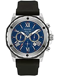Bulova Men's Designer Chronograph Watch Rubber Strap - Water Resistant Blue Dial Marine Star 98B258