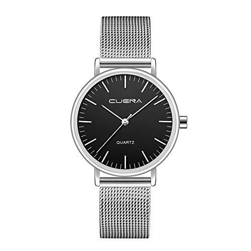 Neuer Trend  Armbanduhr Damen Einfache Edelstahl Uhren, Frauen Klassisch Ultradünne Analog Quarz Uhren mit Mesh Wrist Watch Damenuhren Fashion Geschenk Ausverkauf LEEDY