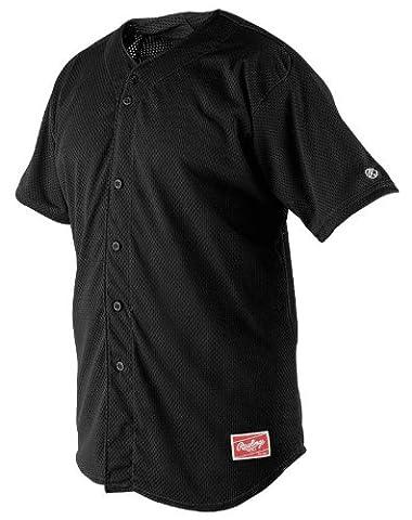Rawlings Men's Full Button RBJ167 Jersey , Black, X-Large